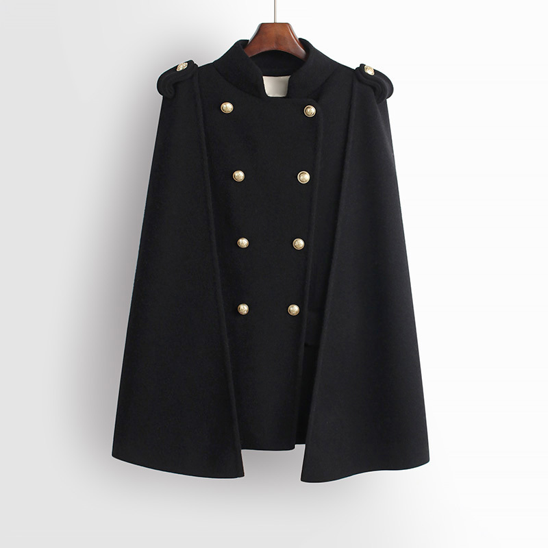 TVVOVVIN, новинка, весна-лето, корейский стиль, модный стиль, погоны, пуговицы, воротник-стойка, двубортное Женское пальто, C237 - Цвет: Black