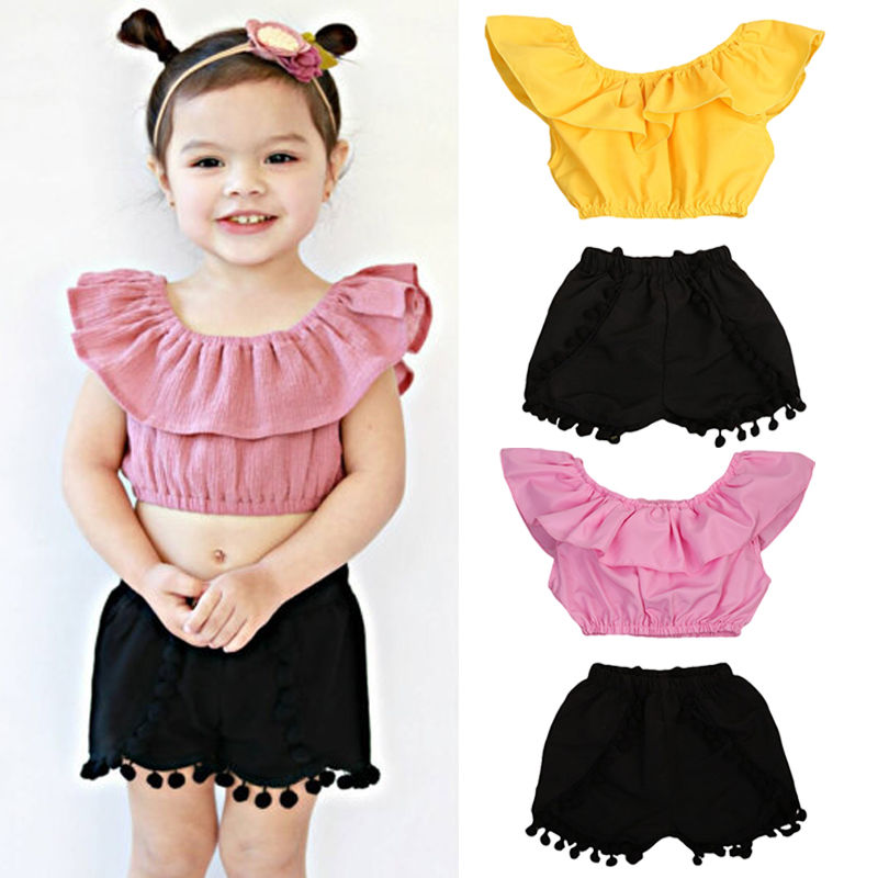 US Fashion Newborn Toddler Baby Girl Crop Top T-shirt+Short Pants Outfit Clothes