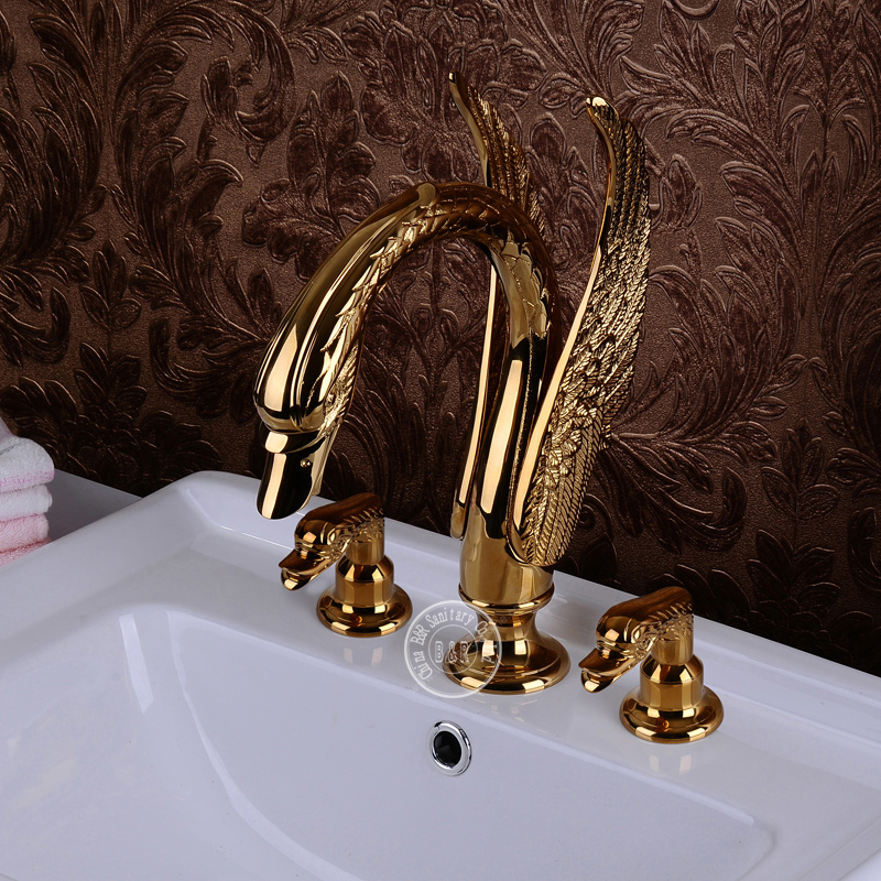 Charmant BECOLA Swan Sink Faucet Animal Faucets Double Handle Gold Swan Basin Faucet  Animal Shapes Bibcock Br 11000 In Basin Faucets From Home Improvement On ...