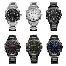 WEIDE Luxury Brand Мужчины Спортивные Водонепроницаемые Часы LED многофункциональный Дисплей Сигнализации Кварцевые часы Из Нержавеющей стали ремешок relogio