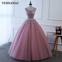VENSANAC 2018 O Neck Lace Pleat Long Ball Gown Evening Dresses Elegant Party Organza Appliques Open Back Prom Gowns
