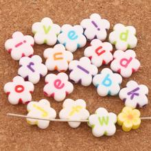 185PCS 11mm White Colorful Acrylic Alphabet Letter Flower Beads L3120 Jewelry Making DIY