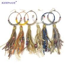 Long fringe dangle earring crystal beaded leather long tassel earrings chandelier earrings colorful bohemian summer earrings faux crystal filigree chandelier earrings