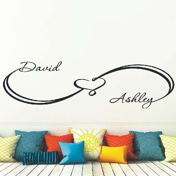 Infinity Wall Decals Custom Sign Heart Wall Sticker Personalized Names Removable Wallpaper Family Name Home Bedroom Decor AY942 in Wall Stickers from Home Garden