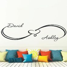 Infinity Wall Decals Custom Sign Heart Sticker Personalized Names Removable Wallpaper Family Name Home Bedroom Decor AY942