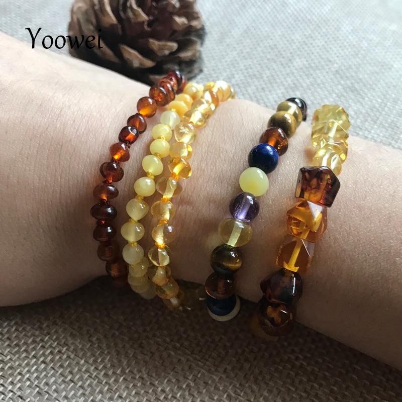 HTB16Bbcn3vD8KJjy0Flq6ygBFXa4 Yoowei Natural Amber Bracelet/Anklet for Gift Women Amber Bracelet Baltic 4mm Small Beads Baby Teething Custom Jewelry Wholesale