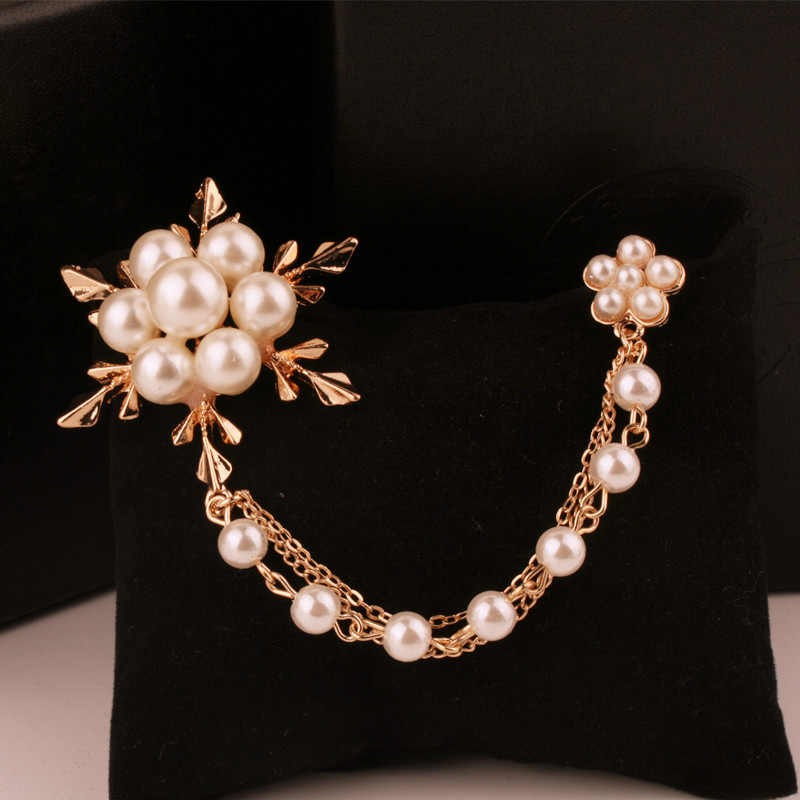 Vintage Ice Flower Style Pearl Brooch pins For Women Hijab Pins Jewelry  Long Tassels Chain Brooch Girl Gift Sweater Decoration