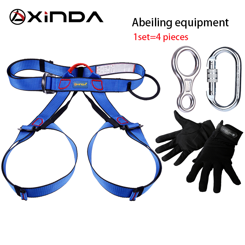 XINDA Professional Outdoor Equipment Rock Climbing Rappelling Rescue Escape Kits 4 Pieces Descender Carabiner Safety Belt Gloves multifunctional professional handle pulley roller gear outdoor rock climbing tyrolean traverse crossing weight carriage fit