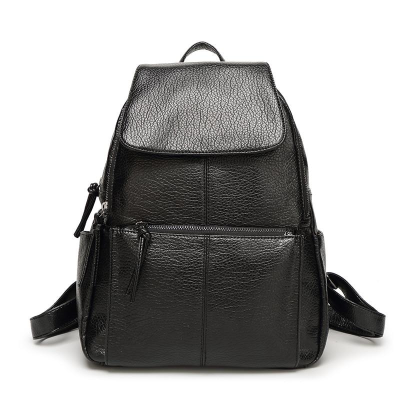 ФОТО 2017 Fashion PU Leather Women Backpacks Washed Backpacks Casual Travel Women School Bag  Fashion Backpacks For Girls