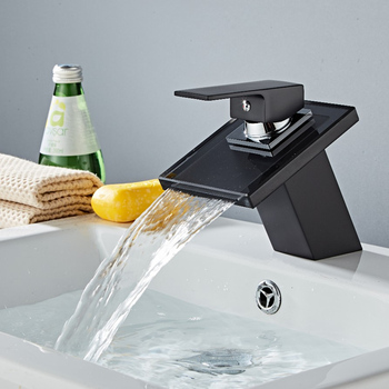 Black Bathroom Glass waterfall Faucet Bathroom Basin Faucet Black Painting Hot And Cold Mixer Tap sink water tap black faucet 1