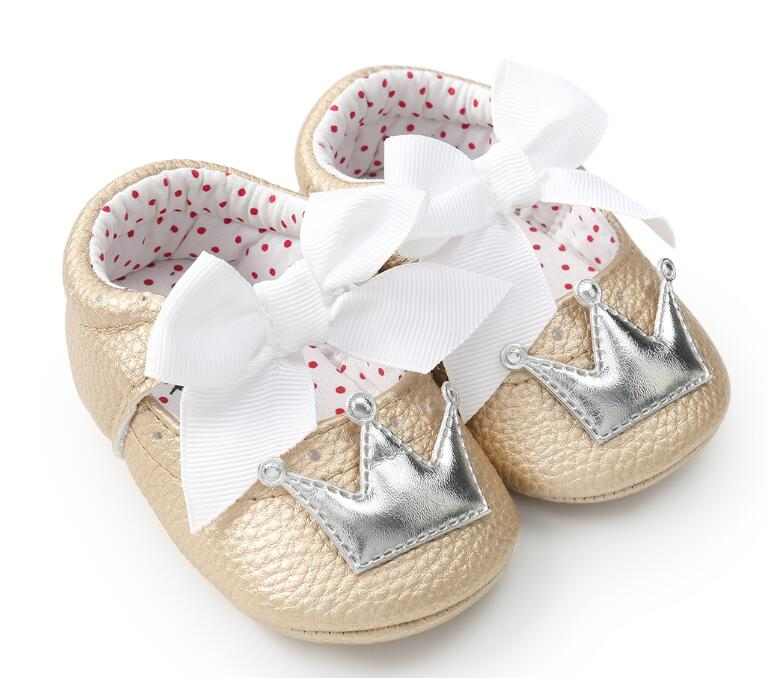 Crown Princess Shoes For Toddler Baby Girls Big White Bow Hard Sole Newborn Baby Moccasins 2018 New Spring And Autumn Style