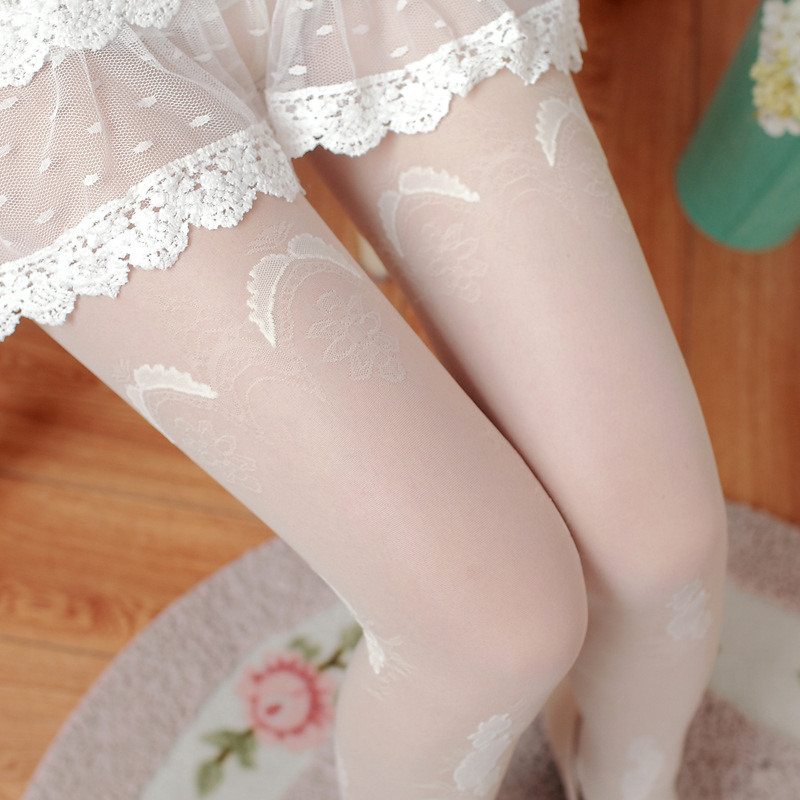 2016 fall new womens tights high quality fashion flower jacquard nylon pantyhose for women gift tights