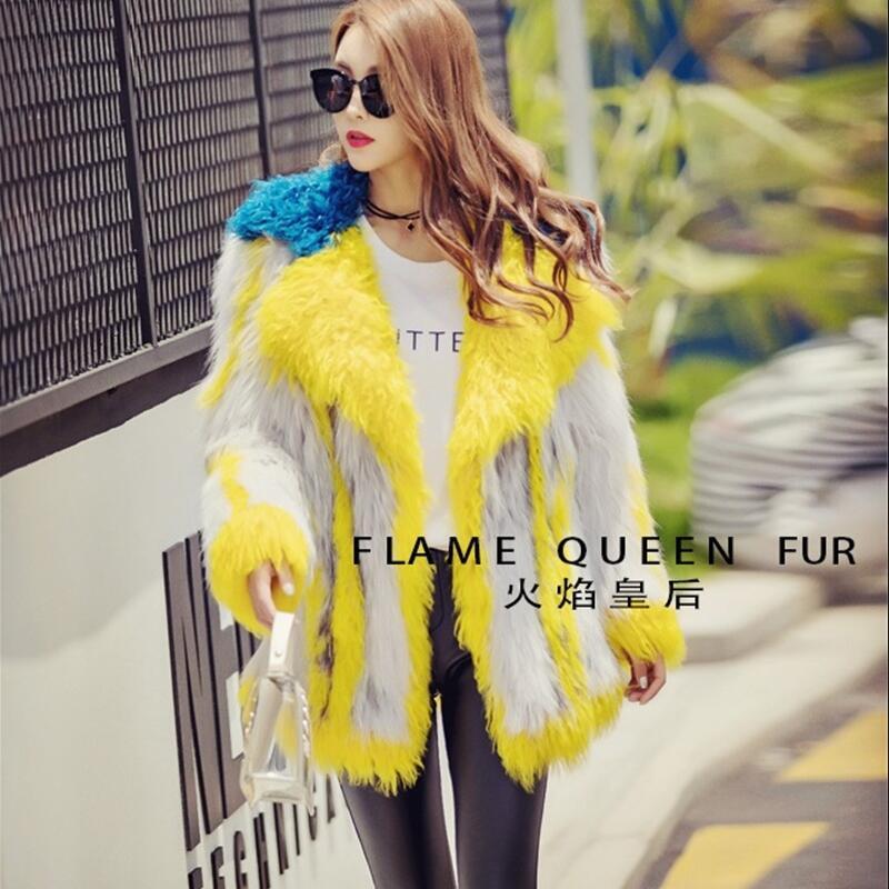 2017 New Womens Real Natural Fox Fur Coats Jackets Big Lapel fox hair stitching lamb wool crash color woven fur coat Hit color