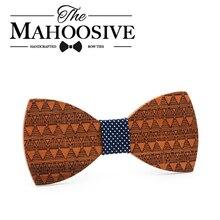 Mahoosive Brand Fashion Handmade Wood Bow ties Bowtie Butterfly Gravata Ties For Men DIY Dot Mens Wooden bow tie