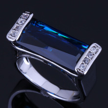 Stylish Rectangle Blue Cubic Zirconia White CZ 925 Sterling Silver Ring For Women V0651 stylish golden hollow rounded rectangle hasp bracelet for women