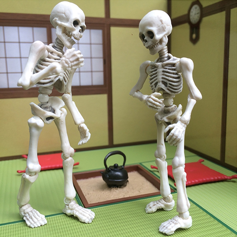 Movable Mr. Bones Skeleton Human Model Skull Full Body Mini Figure Toy Halloween цена