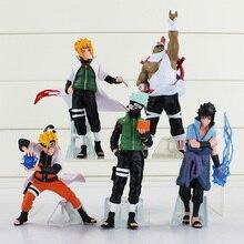 Anime Naruto Uchiha Sasuke Kakashi Minato Namikaze 6 3 PVC Figure Model Toy 5 pcs set