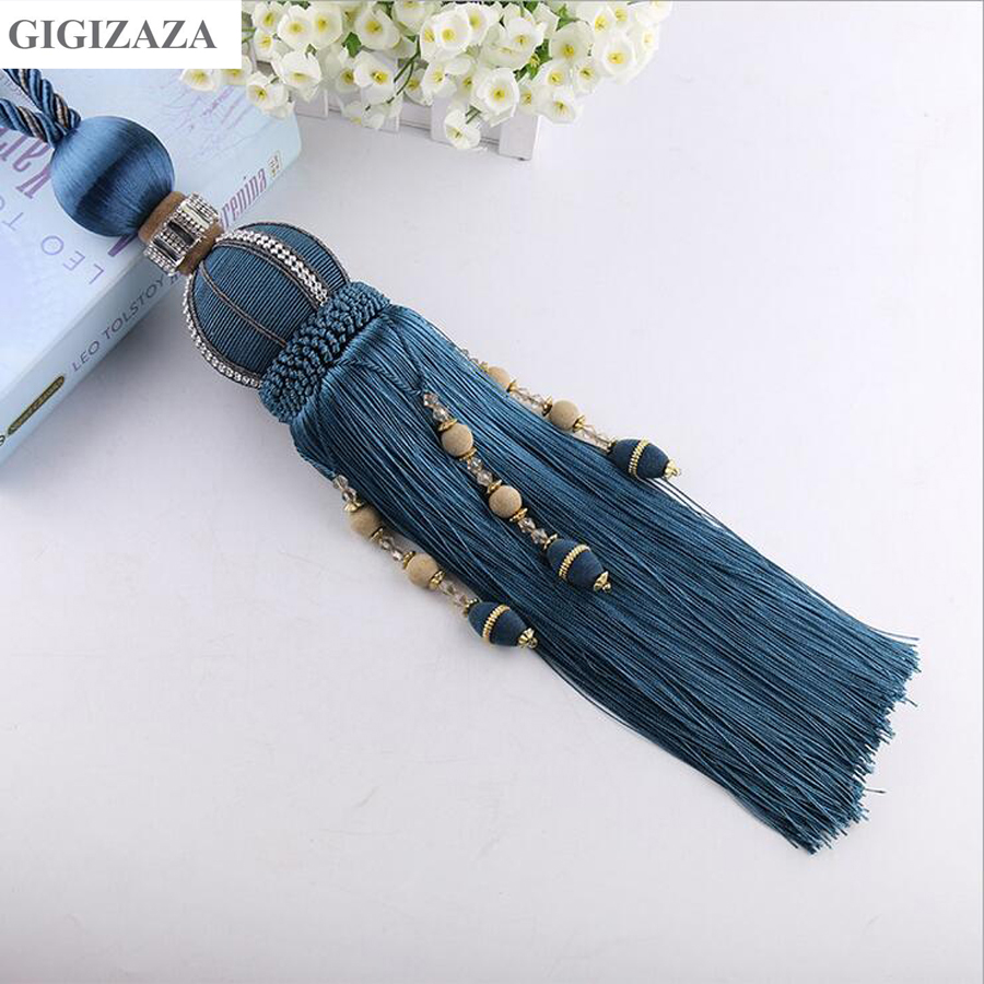 One pair pearl Home Window curtain clips accessories Hanging Belt Ball curtain strap blue grey Curtain tassel tieback Buckle