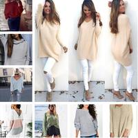 Hot 2017 Heart Patch Women Sweater Full Sleeves Linen Solid Simple Sweaters Sexy Loose Fashion Jumper