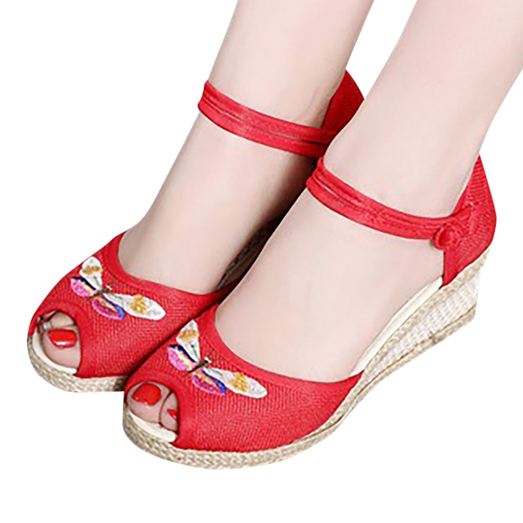 Casual Sandals Wedge Beach-Shoes Round-Toe Female Summer Ladies New Retro Soft Linen