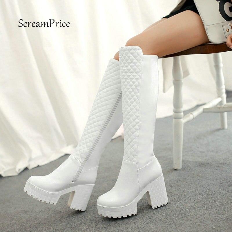 Women Winter Warm Fur Knee High Boots Platform Pu Leather Thick High Heels Fashion Zipper Boots