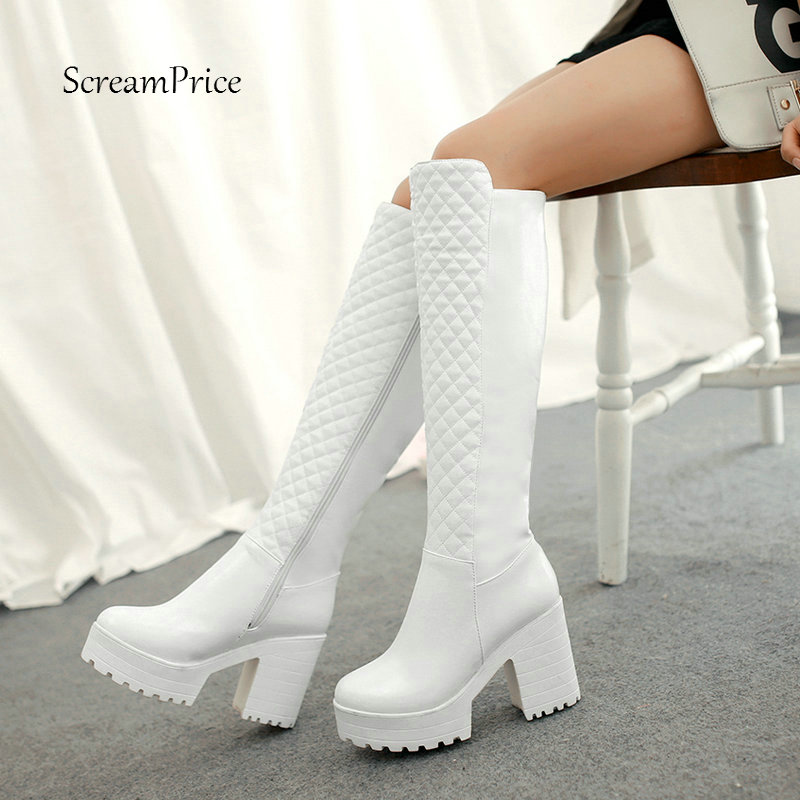 Women Winter Warm Fur Knee High Boots Platform Pu Leather Thick High Heels Fashion Zipper Boots Woman Shoes Black White 2018 New bling pu leather women sexy boots high heels zipper shoes warm fur winter boots for women x1022 35