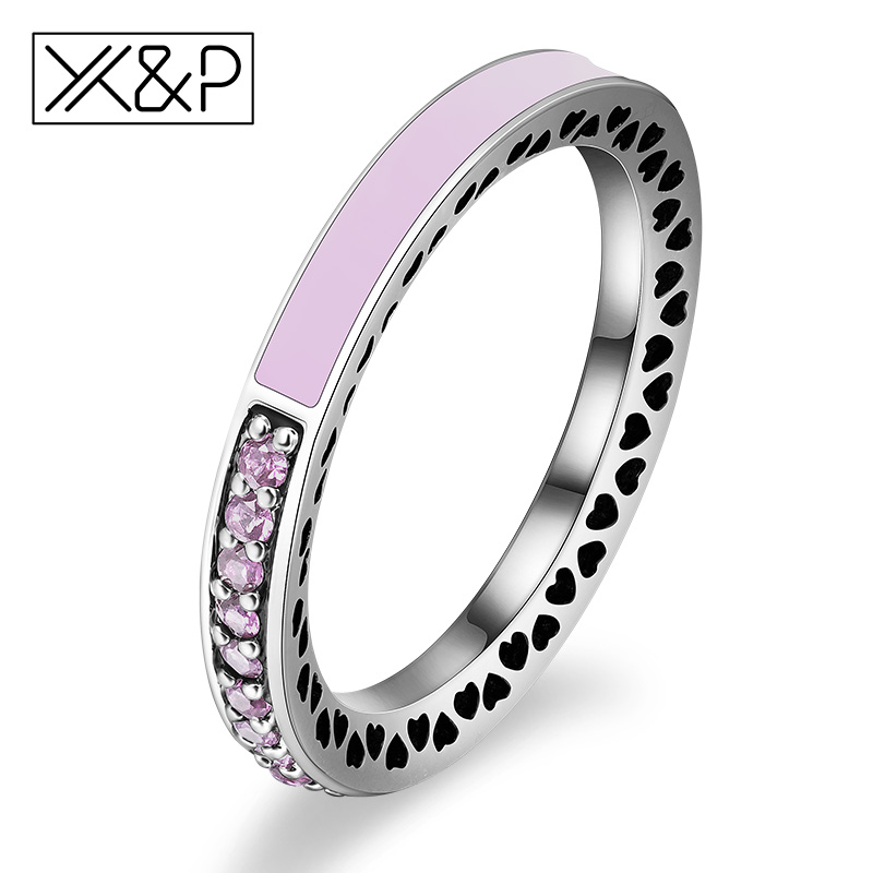 X&P Fashion Charm 100% 925 Silver Finger Rings for Women Men Mother's Day Radiant Hearts Light Pink Enamel Clear Ring Jewelry