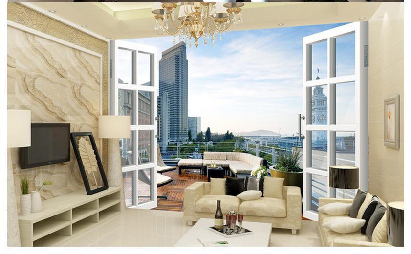 Купить с кэшбэком Custom photo wallpaper 3d wall murals wallpaper City balcony 3D landscape background wall painting wall papers for living room