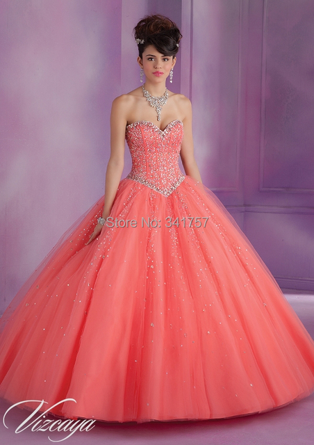 703ade71199 Coral Quinceanera Dresses with Jacket Debutante Gowns Beading Vestidos De 15  Anos Ball Gown Organza Sweet 16 Dress Custom QA382