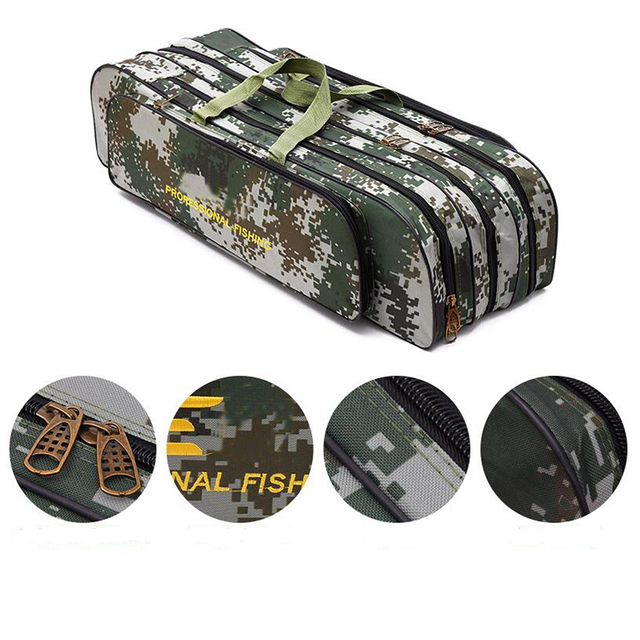 Digital Camouflage Wire Fishing Bag Sea Fishing Bag Large Space3 Layer 80/90cm Fishing Rod Kit Embroidery Fishing Gear Wholesale 2