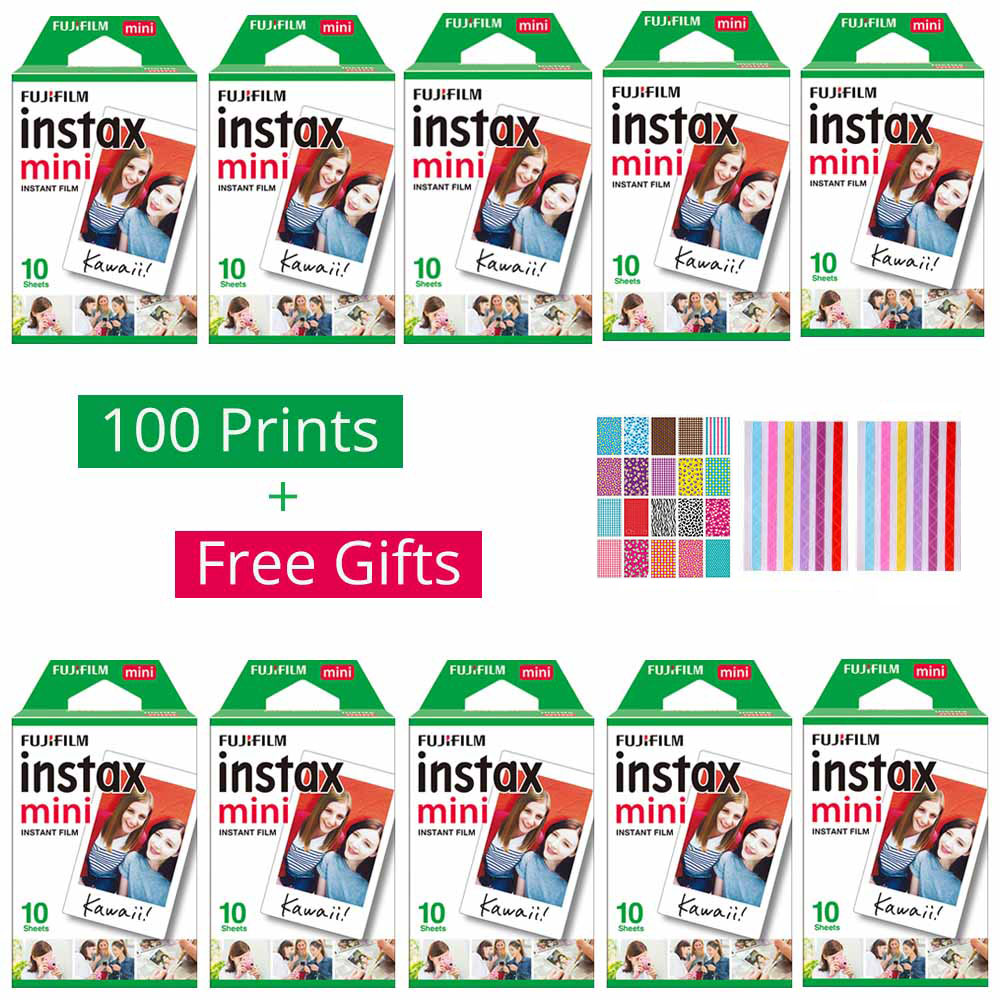 10 - 100 sheets Fujifilm Instax Mini White Film Instant Photo Paper For Instax Mini 9 8 7s 90 70 25 50s Camera SP-2 1 Printer freeshipping 500 pcs fujifilm instax mini 8 film 20x25 sheets for camera instant mini 7s 25 50s 90 photo paper with retail box