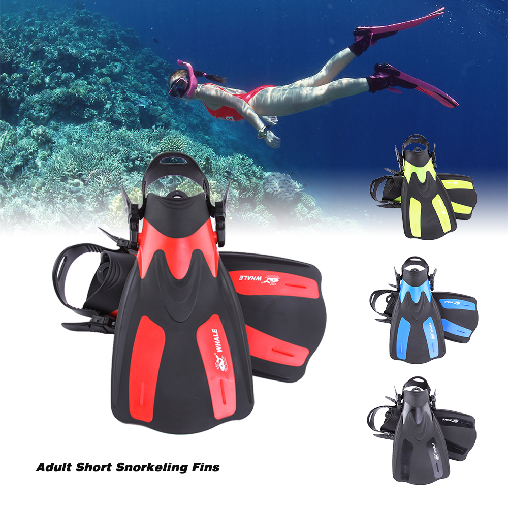 Snorkeling Diving Swim Fins Adult Short Snorkeling Swimming Fins Flippers With Adjustable Heel Water Sports Equipment Swim Fins