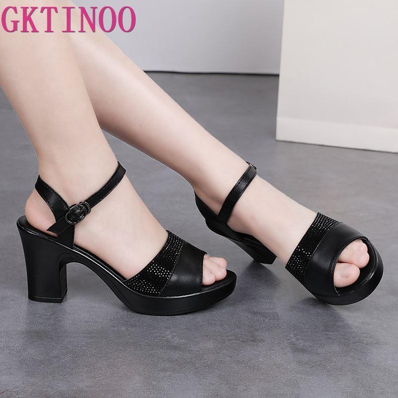 2019 Summer New Women Sandals High Heel Women Genuine Leather Shoes Rhinestone Platform Sandals Women Shoes Plus Size 35-42