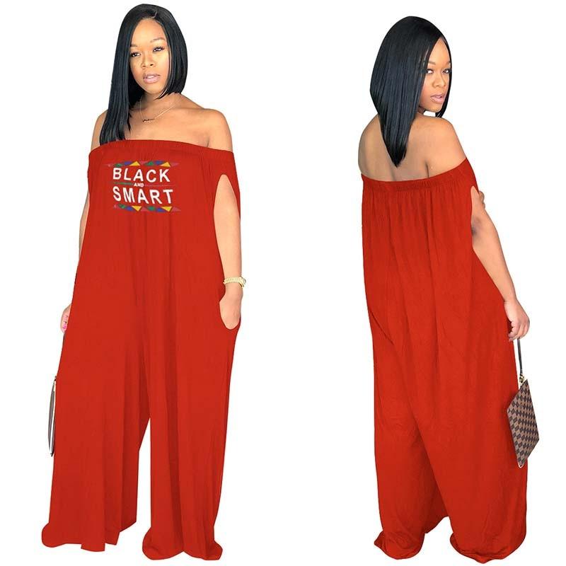 Africa Cloting Women Casual Loose Off the shoulder Jumpsuit Wide Leg Pants Super Plus Size S-XXXL