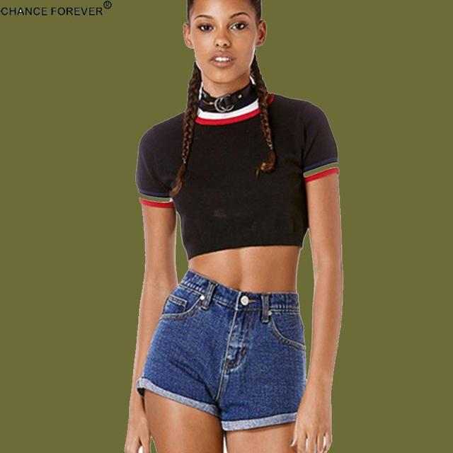 UNIF Vintage Knitted cropped block short sleeve tops highneck Pullovers  crop top black white stripe Sweater Mujer-in Pullovers from Women s Clothing  on ... b8be06461