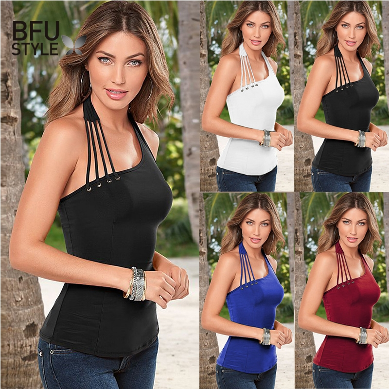 2019 Sexy Halter   Tank     Top   Women Casual Black White Camisole Female Sleeveless Summer   Tops   Plus Size XXL Basic Backless Tee   Tops