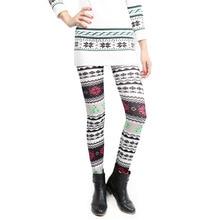 2016 Women Winter Leggings Christmas Print Elastic Pants Trousers Snow Deerlet Punk Leggings Sexy Plus Size Oversized Fluoresc