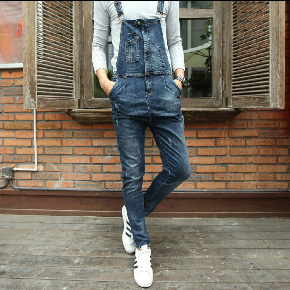 28-34 Fashion Bib Denim Overalls For Men New Long Solid Blue Slim Cowboy Overall Cotton  ...