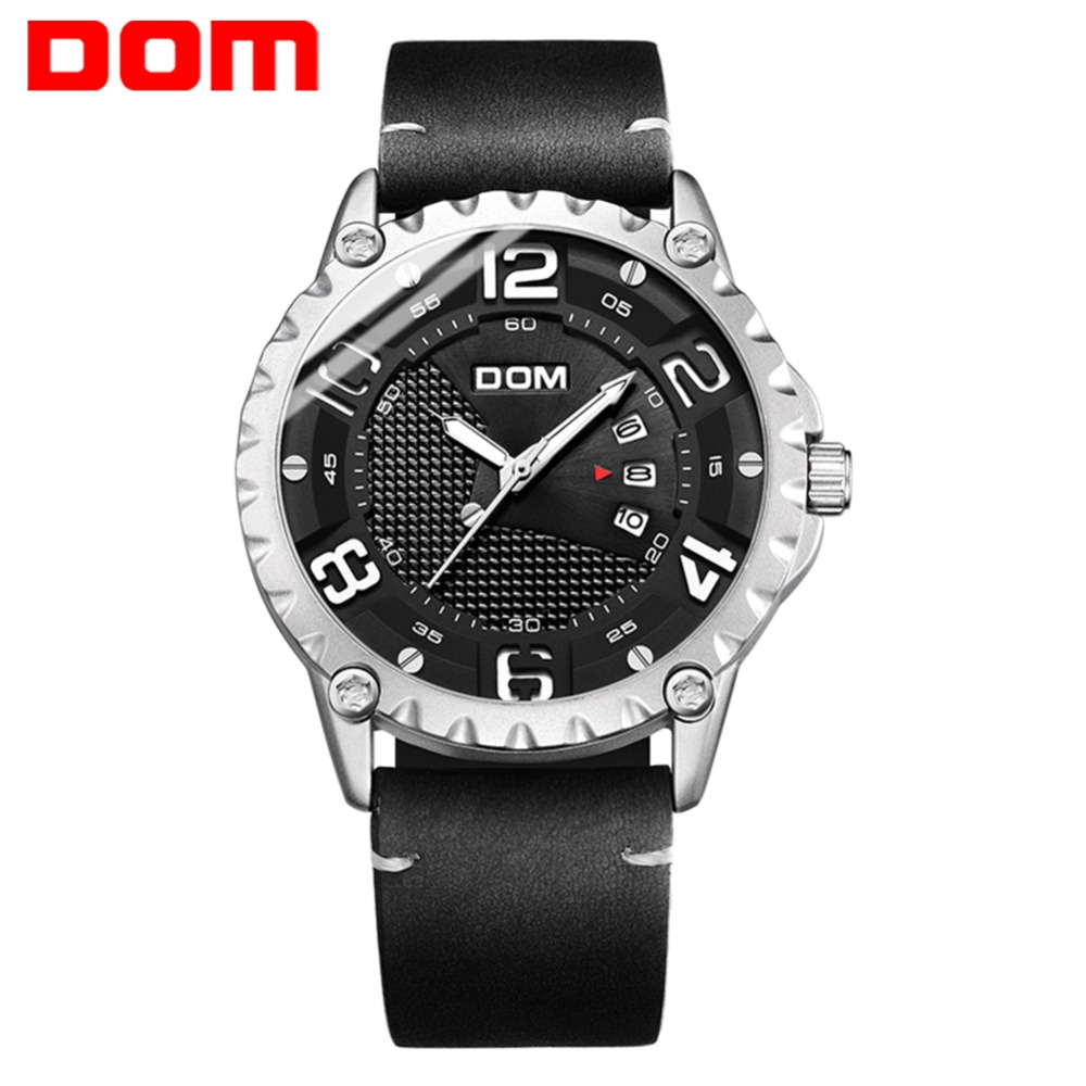 DOM Watch Men 2018 New Sport Watches Luminous Leather Waterproof Military Wristwatch relogio masculino erkek kol saati M-1221