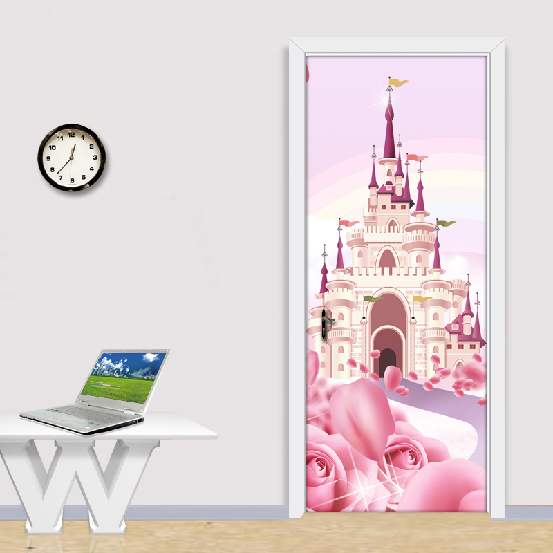 Cartoon Pink Castle 3D Photo Wallpaper For Kids Room Girls Princess Bedroom Door Sticker PVC Self-Adhesive Waterproof Wall Mural