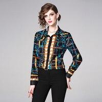 2019 Women's Blouse fashion Runway Vintage Turn Down Collar Long Sleeve Floral Print Shirts Chiffon Tops Office Ladies Blusa
