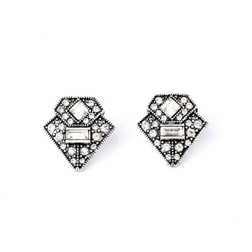 Trendy Retro Triangle Casablanca Ear Studs Earrings Silver Color Art Deco Vintage Jewelry