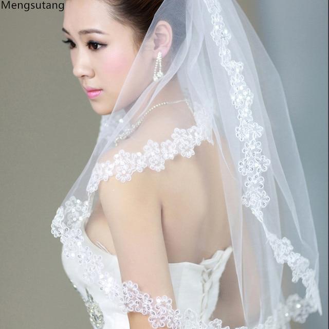 f77b21406611bc 2019 de Noiva curto véu de noiva branco vestido de noiva fios macios 3  metros de