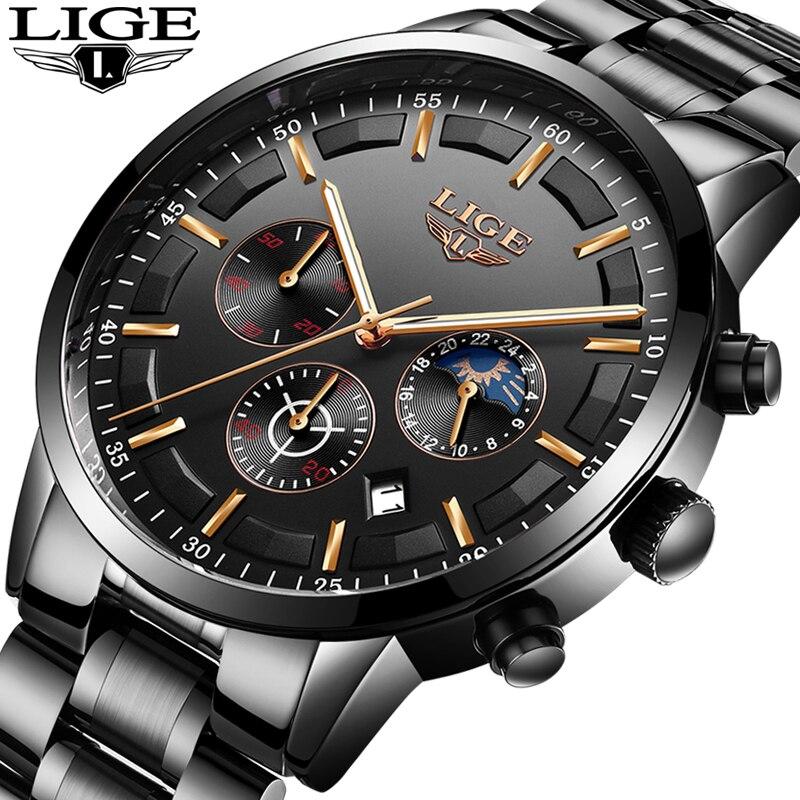 Montre Hommes LIGE De Mode Sport Quartz Horloge Hommes Montres Top Marque De Luxe Lune phase D'affaires Montre Étanche Relogio Masculino