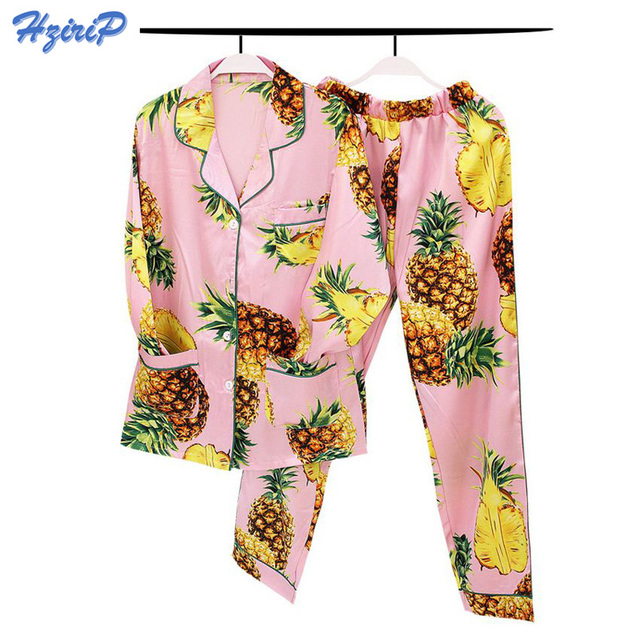 ed795e91f4a504 Hzirip Women Pajamas Sets 2017 New Summer Autumn Ladies Sleepwear Shirt  Pants 2 Pcs Set Faux Silk Sleep Lounge Pyjama Tracksuits