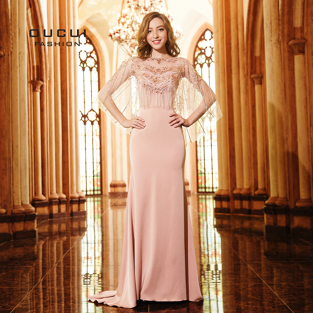 Lotus Pink Sleeveless Beading Tassel With Jacket Formal   Evening     Dresses   2019 Long Mermaid Gown Court Train Party   Dress   OL103275