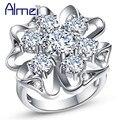 Almei Большой женская Посеребренная Кольца Моды Циркония Ювелирные Изделия Белый Кристалл Цветок CZ Бриллиантовое Обручальное Кольцо Подарка Партии J603