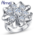 Almei Big Women's Silver Plated Rings Fashion Zirconia Jewelry White Crystal Flower CZ Diamond Engagement Ring Party Gift J603