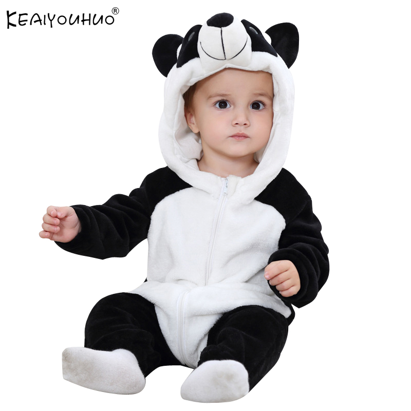 Newborn Baby Rompers Winter Flannel Stitch Cotton Panda Baby Boy Clothes Jumpsuit Costume Baby Girl Costume Animal Infant Romper spring baby romper infant boy bear romper newborn hooded animal clothes toddler cute panda romper kid girl jumpsuit baby costume
