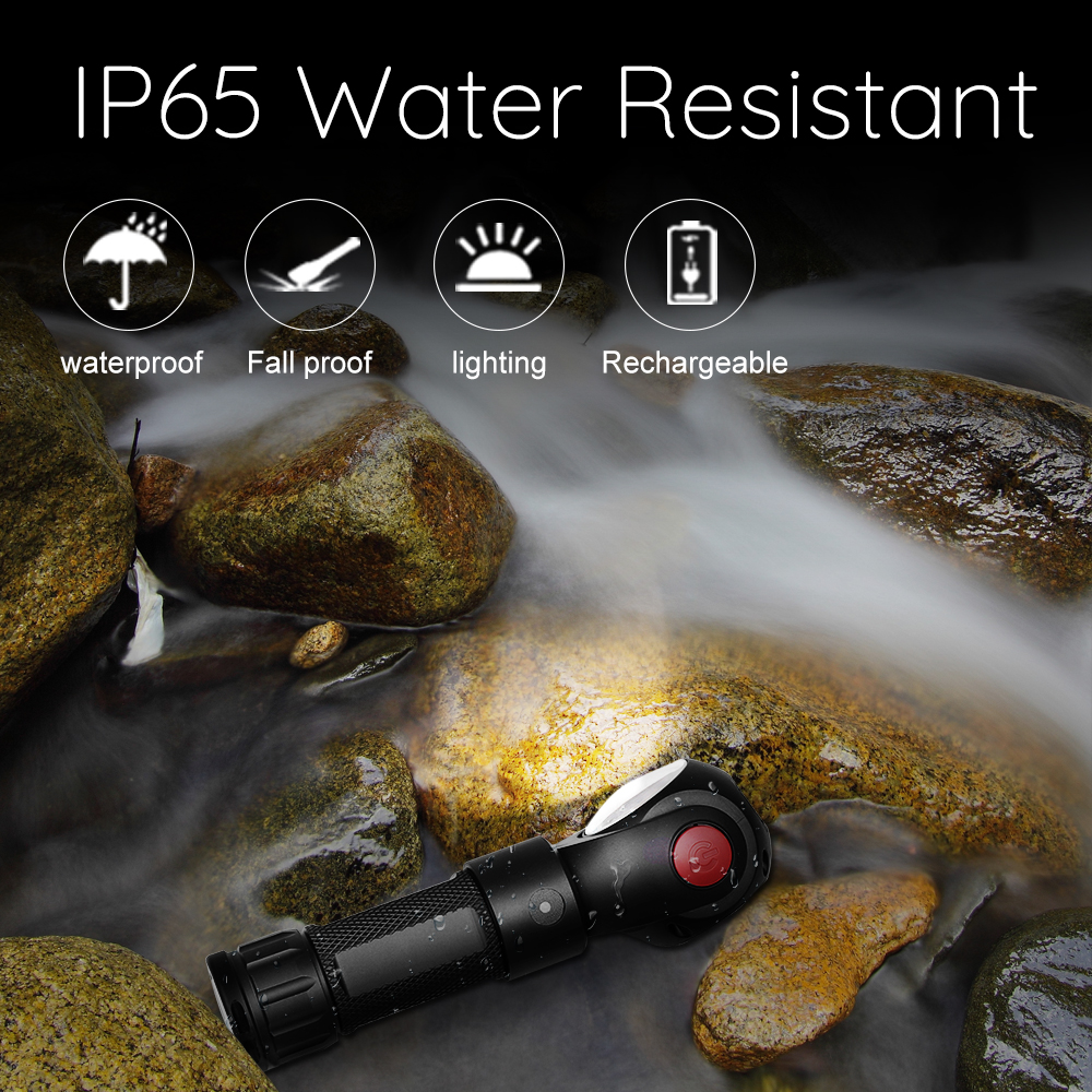Купить с кэшбэком Led Flashlight 360 Degree T6+COB lantern 8000LM Waterproof Magnet Mini Lighting LED Torch Outdoor use 18650 or 26650 battery